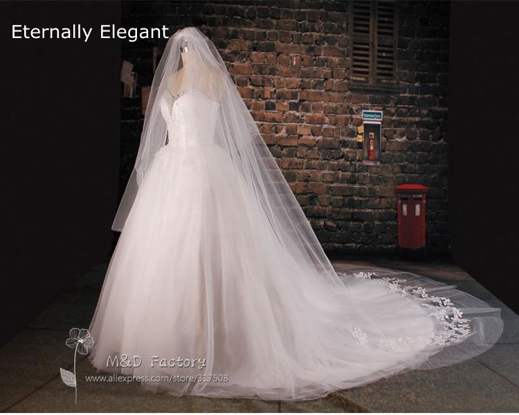 Real Picture Custom Made White Ivory Wedding Veil 3 5m 5m 7m Long 3m Width With