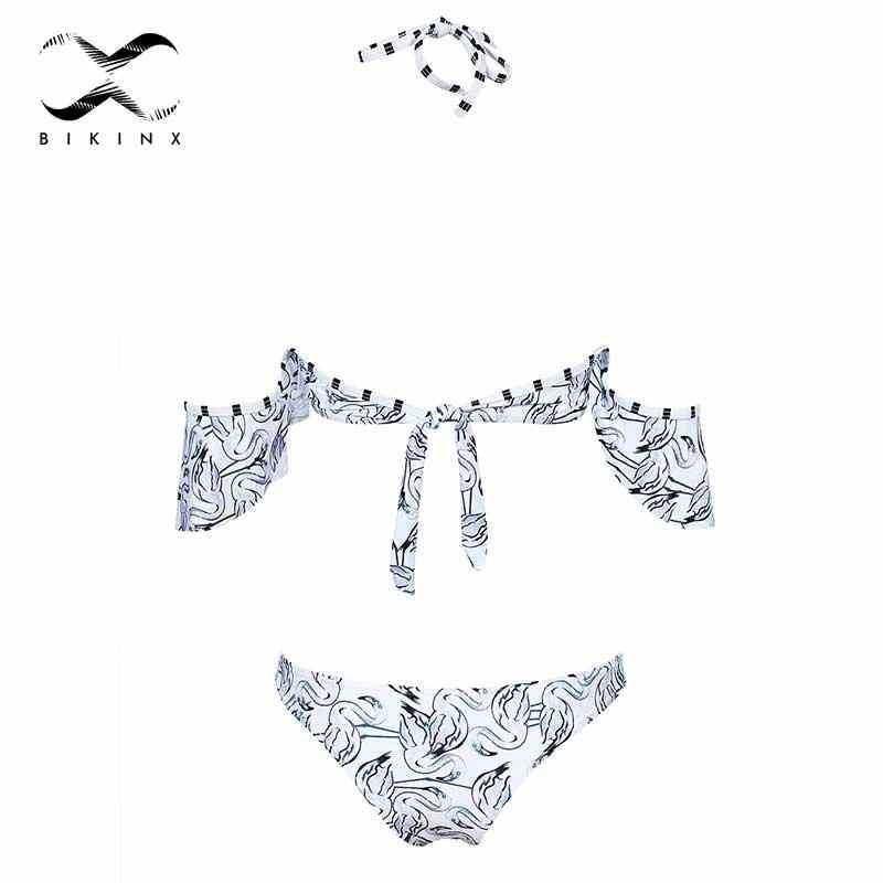 d3c281ab64f ... Flamingo swimsuit thong print off shoulder bikinis set halter swimwear  women 2018 ruffle bikini push up ...