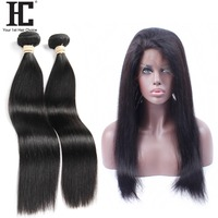 HC Brazilian Straight Hair Lace Frontal Closure 100% Human Hair 2 Bundles With 360 Pre Plucked Lace Frontal Non Remy Hair Weave