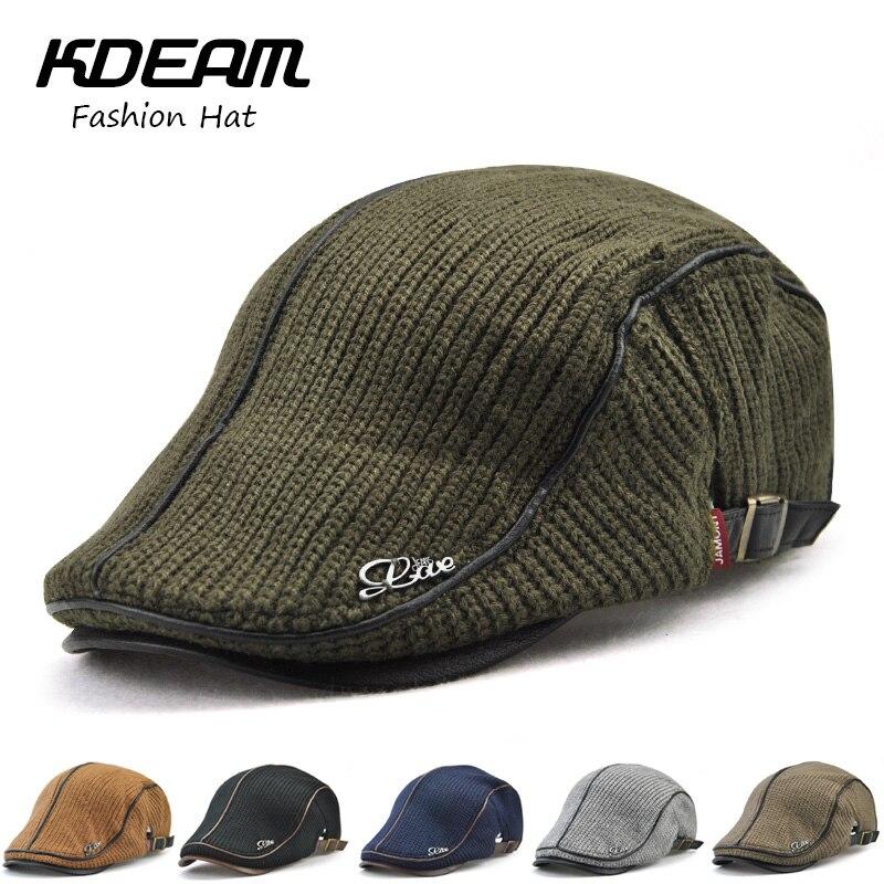 ea6170703 KDEAM New 2018 Wool knitting Berets Cap Adjustable Caps for Men Breathable  Women Warm Hats Flat Cotton Newsboy fashion 0038