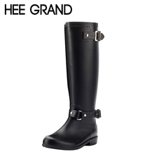 HEE GRAND Rain Boots Women Rubber Knee High Boots Spring Autumn Buckle Black Brown Riding Boots Shoes Women Size 36-40 XWX3870