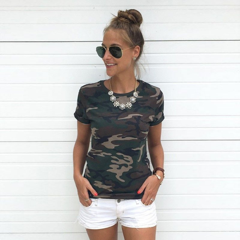 2017 Summer Women Casual Camo Short Sleeve Tops Tee Shirt Ladies Loose T-shirt Hot SL512