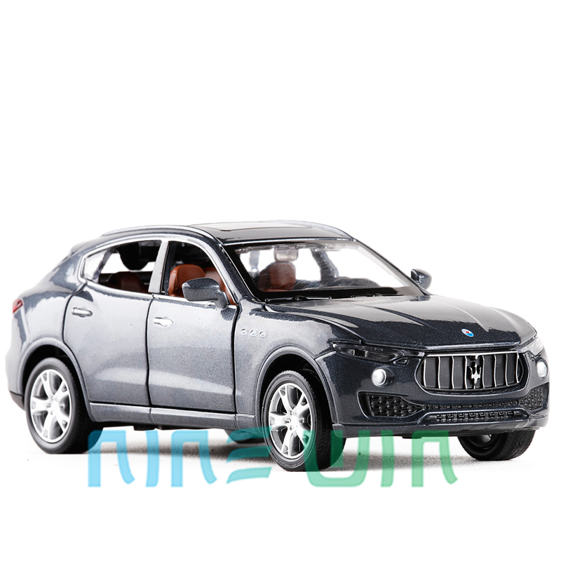 New 1/32 Scale Italy Maserati Levante SUV Sound Light Diecast Metal Pull Back Car Toy For Kids Gifts Free Shipping