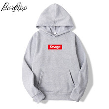 цена fashion Mens Savage Hoodies Parody No Heart X Savage Mode Slaughter Gang ATL Cotton Long Sleeved Hoodies Suprem Brand pullover онлайн в 2017 году