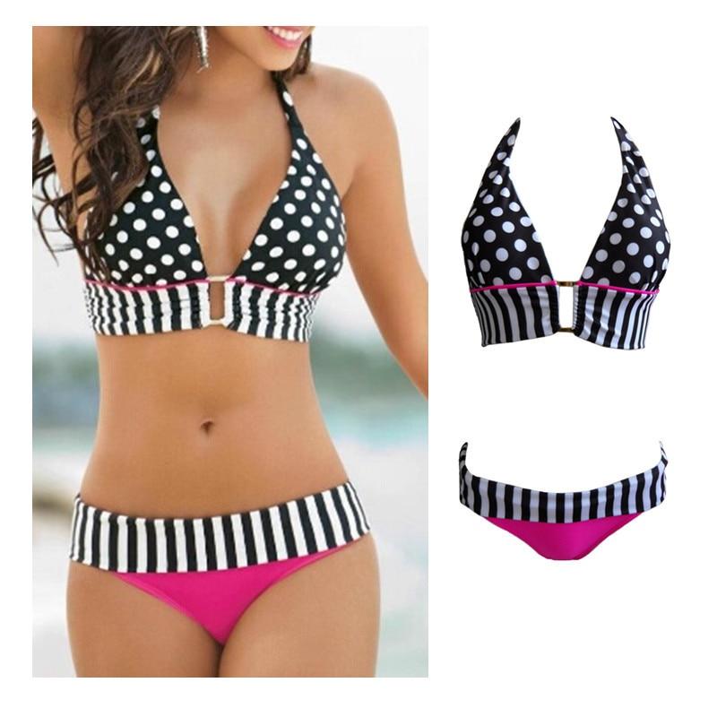 081ec62e6937 € 8.05 |Retro traje de baño brasileño de la raya punteada mujeres Vintage  traje de baño Bikini señora de encaje traje de baño baño de baño de verano  ...