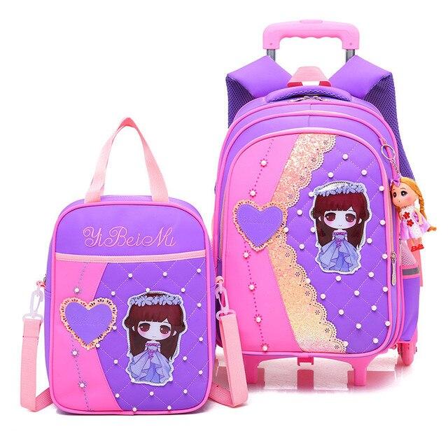 Children Trolley School Bags Girls waterproof larger capacity Backpacks  three Wheeled School Bag Set Kids Pearl