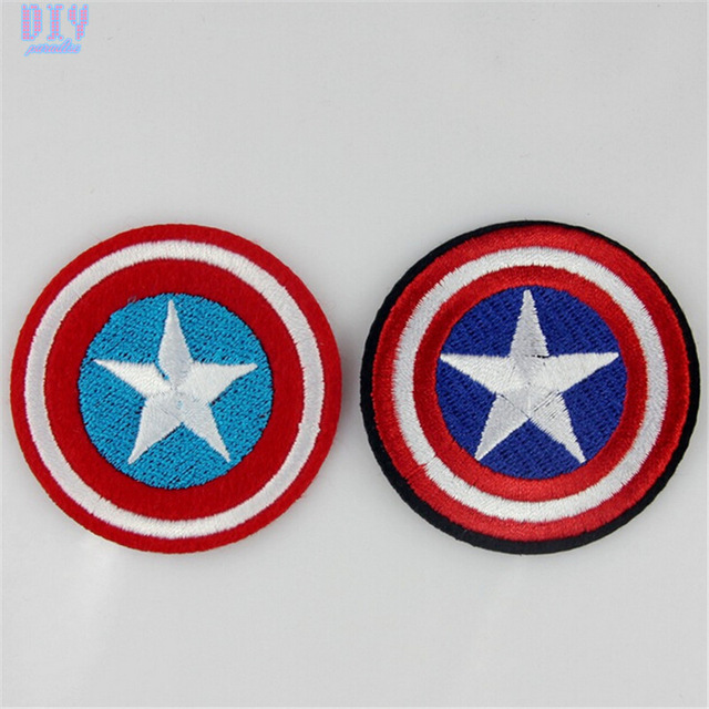 <font><b>Captain</b></font> <font><b>America</b></font> <font><b>Shield</b></font> Embroidered Sew Iron On <font><b>Patches</b></font> DIY Cloth Applique Badge Fabric Apparel Sewing Crafts
