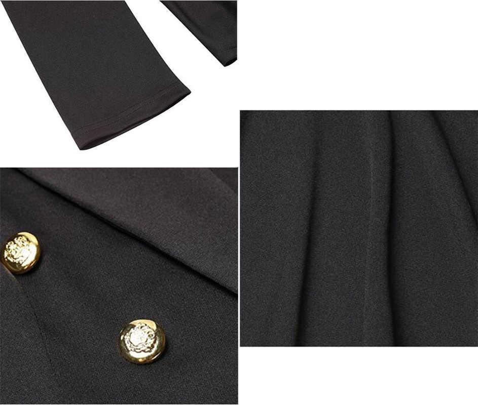 2017 נשים זוגי חזה בלייזר גבירותיי מעיל רשמי מעיל צבאי כפתור זהב