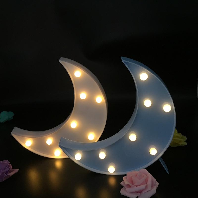 Cartoon LED Marquee 3D Moon Night Light Novelty Kids Bedroom Decor Home Lighting Battery Lamp Kids Gift Toy lampara luna80529