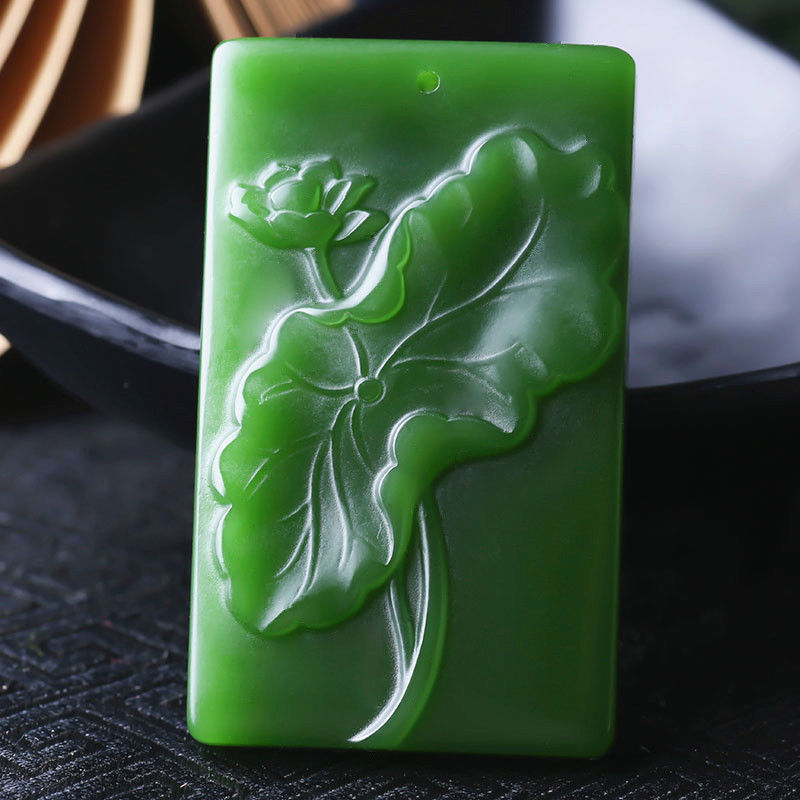 Koraba Fine Jewelry Natural Hand-carved Green Jade Lotus Lucky Amulet Pendant Necklace + Rope Free Shipping