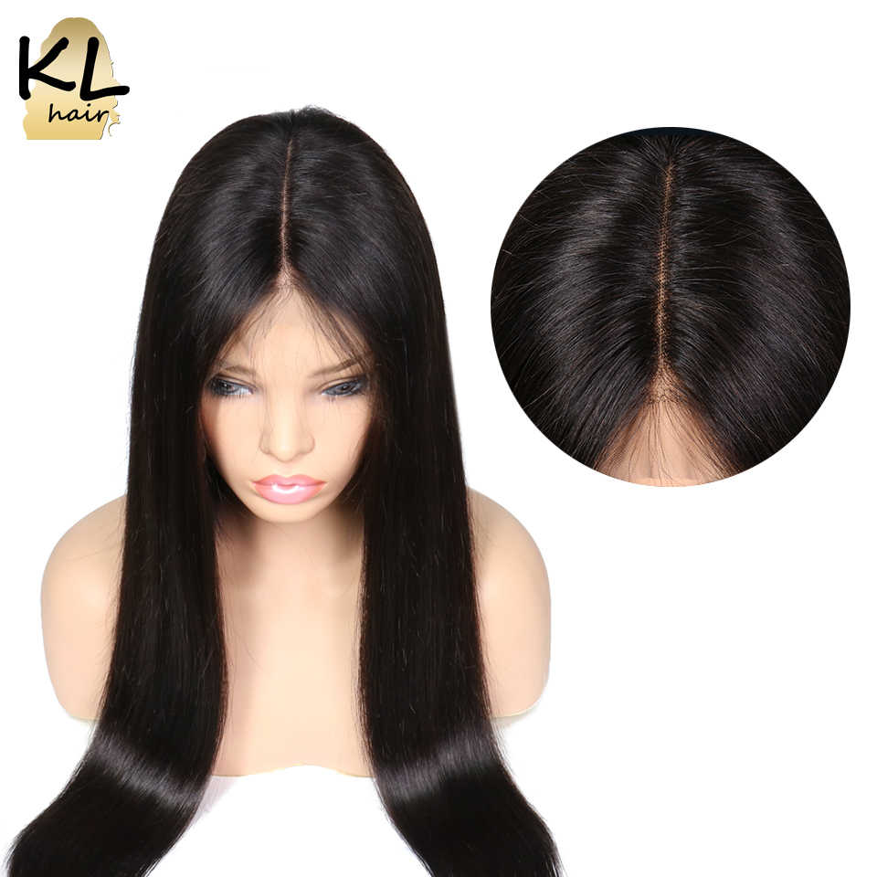 KL Hair Pre Plucked 13*6 Deep Part Straight Lace Front Human Hair Wigs With Baby Hair Natural Black Brazilian Remy Hair Lace Wig