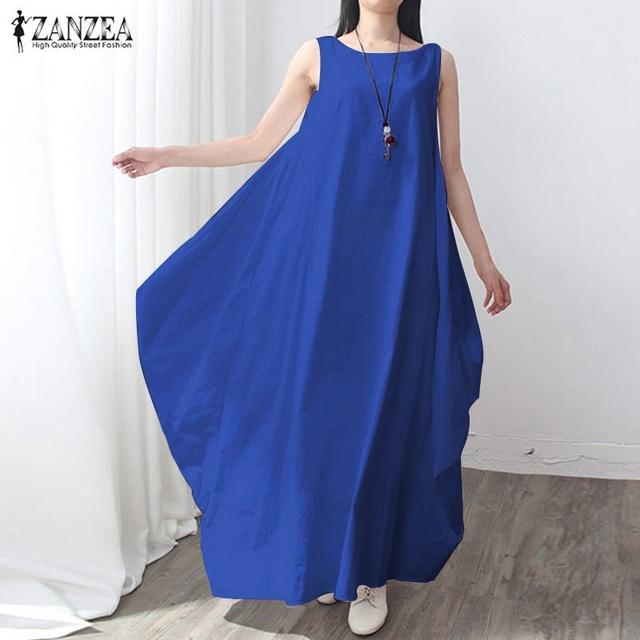 Casual Retro Solid Summer Dress 2017 Women Elegant Loose Sleeveless O Neck Dress Cotton Linen Long Maxi Dress Vestidos Plus Size