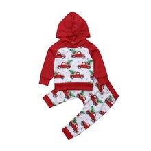 Navidad ropa de bebé recién nacido bebé niño niña de manga larga imprimir  con capucha Tops + Pantalones largos 2 piezas ropa de . 0eb6694897a1