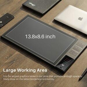 Image 2 - Huion giano WH1409 14インチワイヤレスデジタルタブレット8192圧レベルグラフィック描画ペンタブレットと無料ギフトグローブ