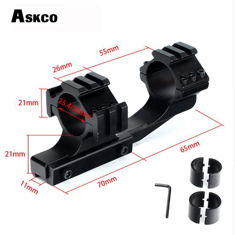 Askco Hunting Tactical 1 inch 25.4mm 30mm Offset Rifle Scope 11mm 3/8 Dovetail Rings Mount with Extra Picatinny Weaver Rail image
