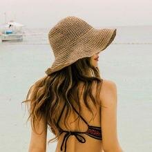 Популярная летняя соломенная шляпа с широкими полями для женщин, женская пляжная Складная соломенная шляпа с бантом и цветком, шляпа от солнца, один размер в ширину