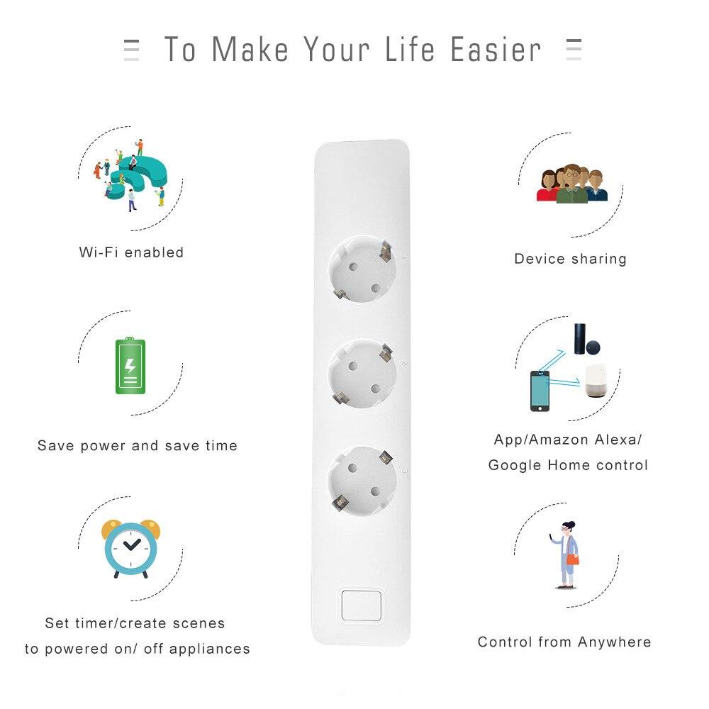 Smart Wall Socket Panel WiFi Smart Socket US UK EU Tuya Smart Life App Work plug socket electric socket Work with Amazon Alexa in Home Automation Modules from Consumer Electronics
