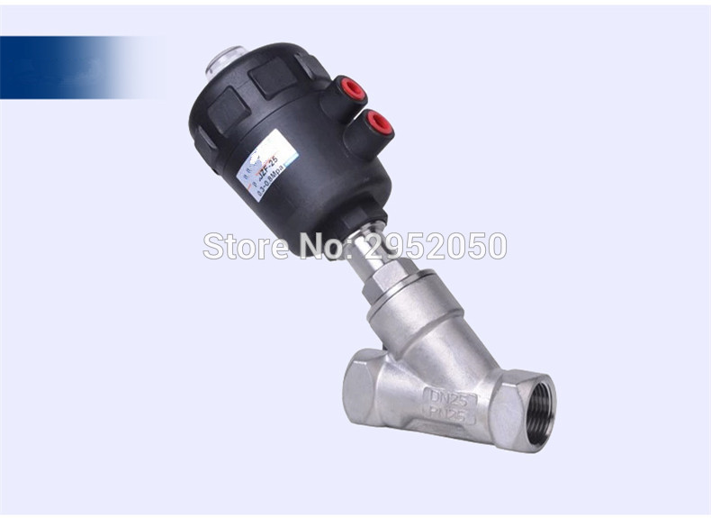 Free shipping normally closed 3/4'' Pneumatic Angle Seat Valve DN20 2 way Stainless Steel Valve for air water steam free shipping 3 4 dn20 stainless steel float valve floating valve cold and hot water tank water tower df1211