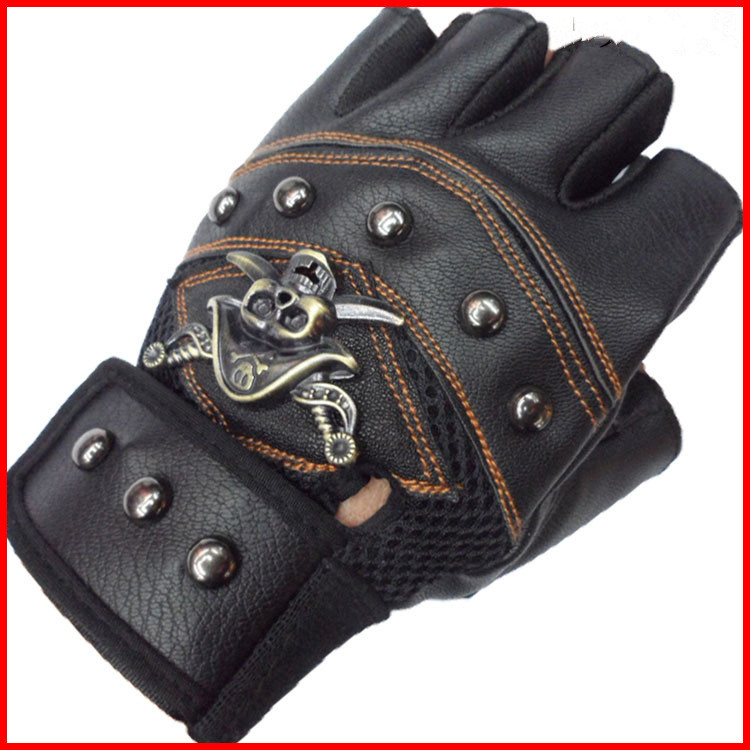 Summer Sports Gloves Without Fingers Skull Scooter Bicycle Bike Mittens Women Motorcycle Cycling Fingerless Gloves