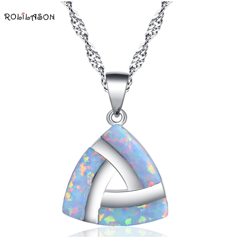 ROLILASON Triangle vintage style created opal for women white opal silver necklaces pendants fashion jewelry OP764 vintage faux opal floral necklace jewelry for women