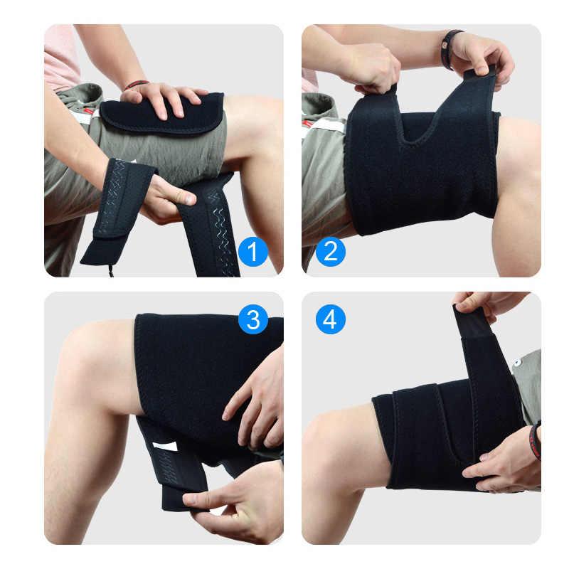 1 PC 屋外スポーツ安全ニーパッド通気性の脚サポートブレース調整バスケットボール圧縮ふくらはぎのストレッチ腿レッグガード