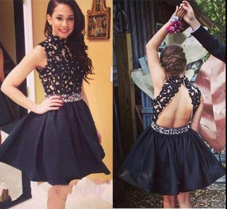 Sexy Backless Black Short Prom   Cocktail   Party   Dresses   Mini Beaded Lace Appliques Satin Juniors Girls Party   Cocktail     Dresses