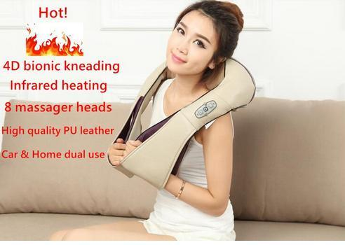 Hotseler-Multifunction health care car home pillow massager acupuncture kneading heating neck shoulder massager anti cellulite