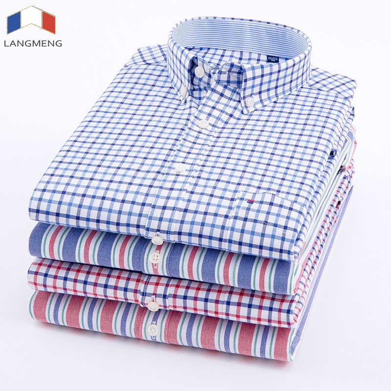 Langmeng 男性オックスフォードカジュアルシャツ 2018 長袖スリムフィット快適な格子縞のシャツメンズ高品質ドレスシャツブランド服