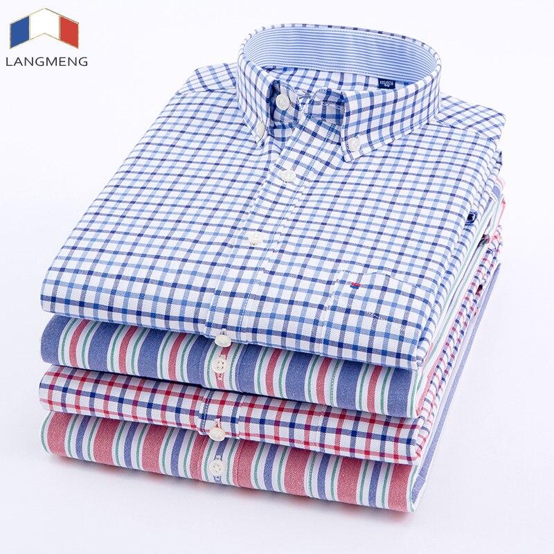 Langmeng Men Oxford Casual Shirt 2018 Long Sleeve Slim Fit Comfortable Plaid Shirt Mens High Quality Dress Shirts Brand Clothing in Casual Shirts from Men 39 s Clothing