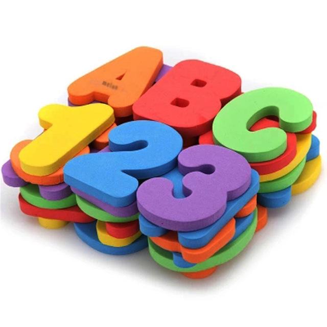 Brinquedos de banho clássico 36 pçs/set ( 26 letras + 10 números ) educação infantil EAV banho de água brinquedos do bebê dos miúdos adesivos digitais