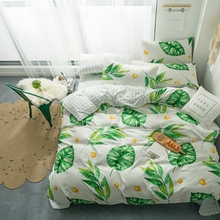 Tropical plant duvet cover set green leaves reactive printing 4PCS Bedding holiday hotel bed nature beauty home bedding
