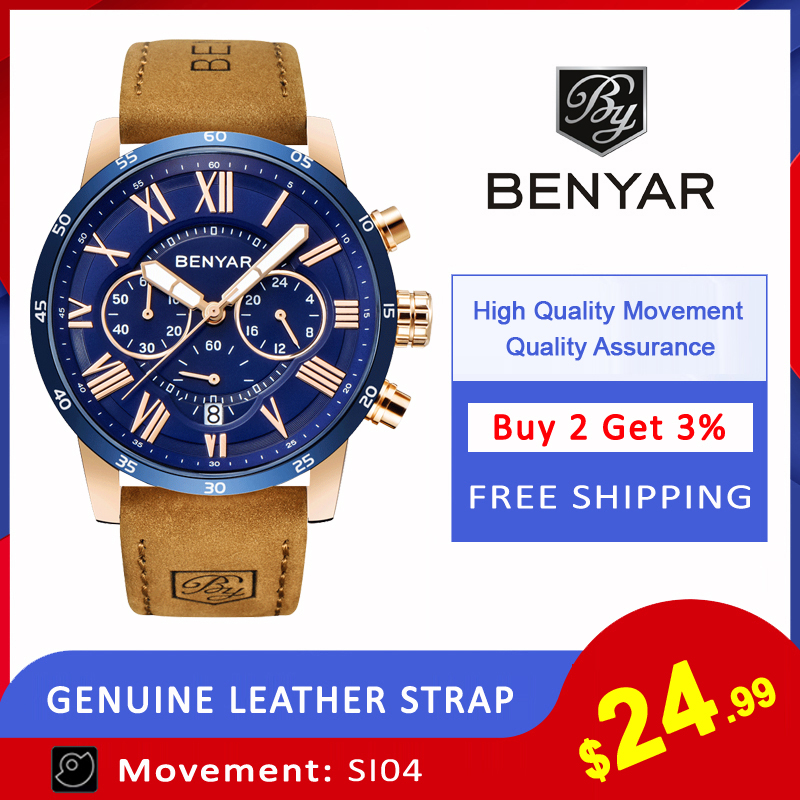 2019 Top Luxury Brand BENYAR Fashion Blue Watches Men Quartz Watch Male Chronograph Leather WristWatch Relogio 2019 Top Luxury Brand BENYAR Fashion Blue Watches Men Quartz Watch Male Chronograph Leather WristWatch Relogio Masculino