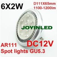 Free Shippng 12W LED AR111 G53 6 2W Spotlight Bulb Ultra Bright High Power 12V AC
