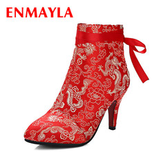 Airfour China Style Retro Embroidered Shoes Woman High Heels Pointed Toe Ankle Boots Women Lace-Up Decorated Wedding Satin