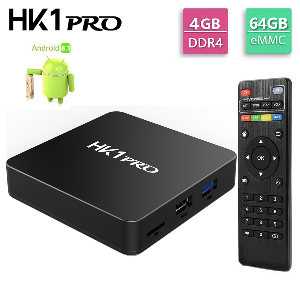 HK1 PRO 4GB LPDDR4 64GB ROM Android 8.1 TV Box Amlogic S905X2 Quad Core USB 3.0 2.4G 5G WiFi Bluetooth 4K HD décodeur intelligent-in Décodeurs TV from Electronique    1