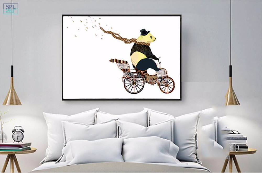 SPLSPL Nordic Wall Art Picture Cute Bear Animals Cycling Canvas ...