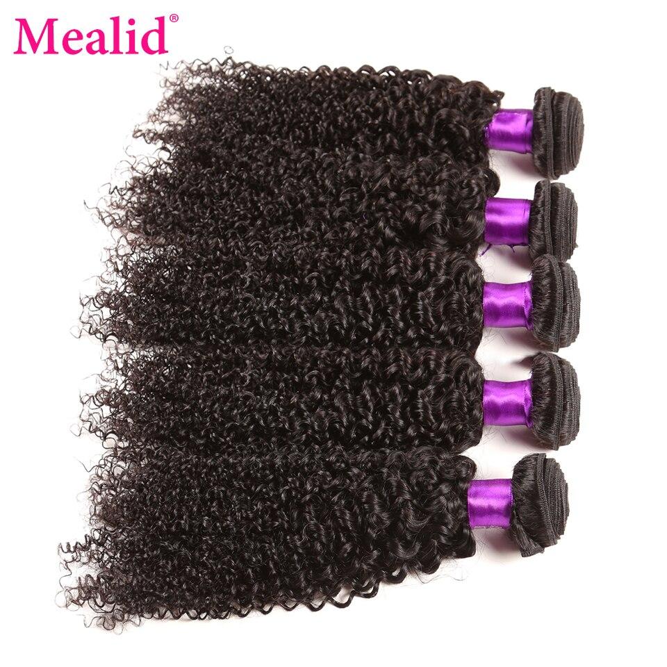 Mealid Malaysian Curly Hair Bundles 5Pcs Non-Remy 100% Human Hair Weave Bundles Natural Color Hair Extension Free Shipping