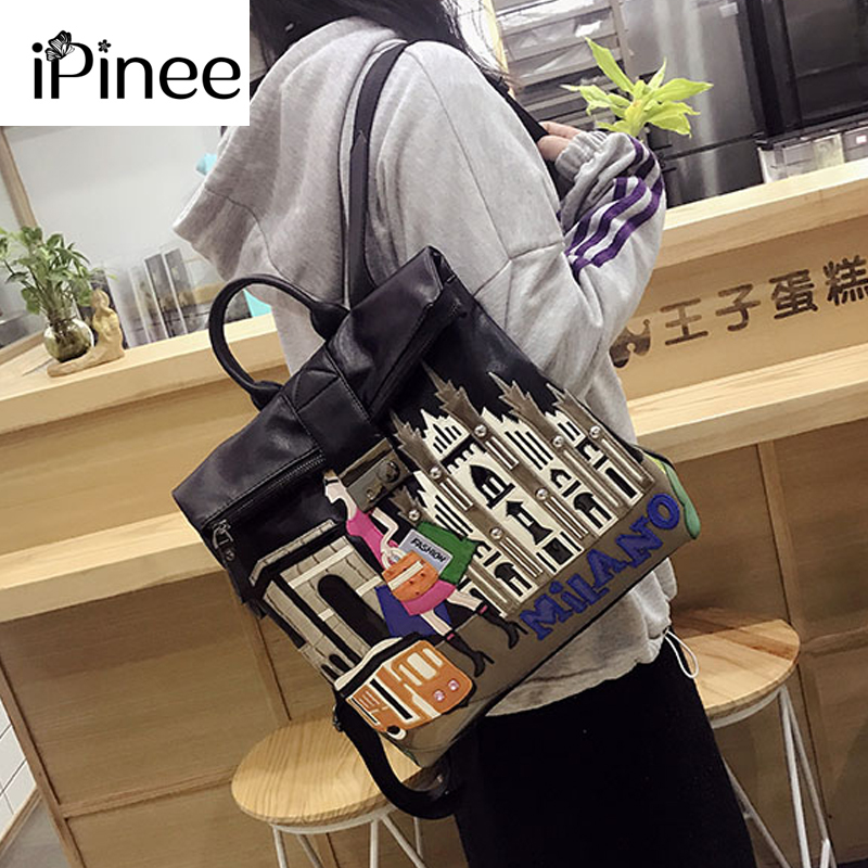 iPinee 2019 New PU Leather Women Backpack Luxury Embroidered School Backpack For Teenager Girl Large Capacity