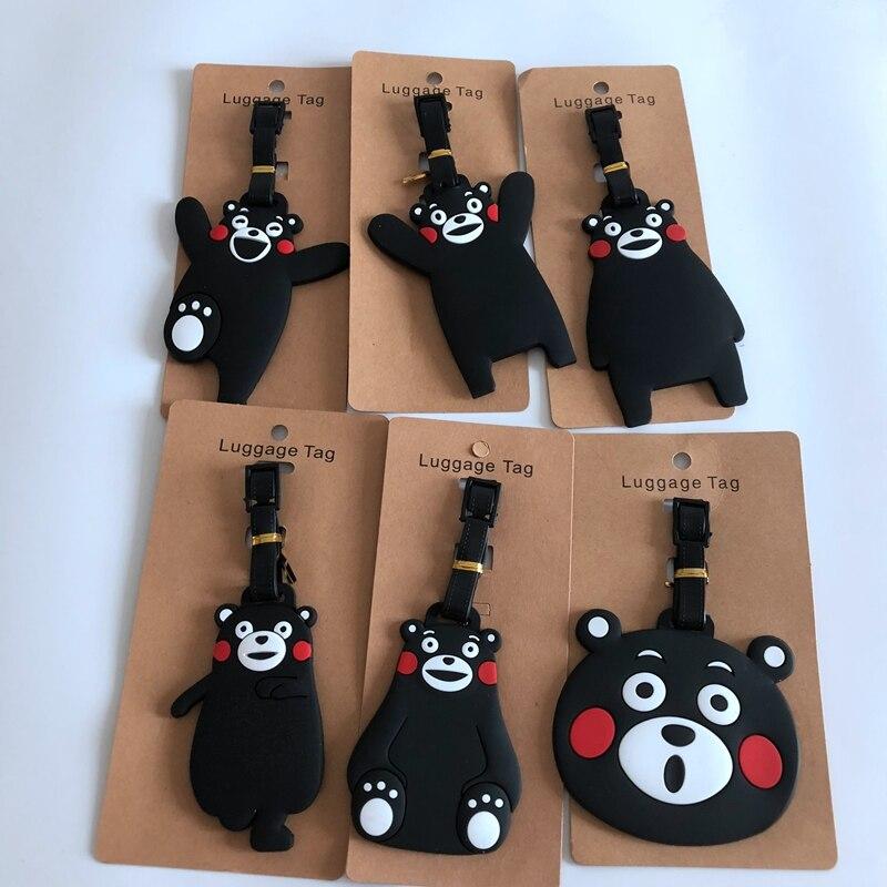 2018 Fashion Cartoon Kumamon Suitcase Luggage Tag Cute ID Address Holder Baggage Label Silica Gel Identify Travel Accessories