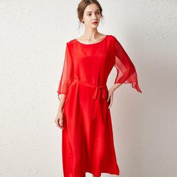 silk chiffon plus size summer dress women s sexy club retro beach dresses 2019 gown loose red elegant fairy adjust belt