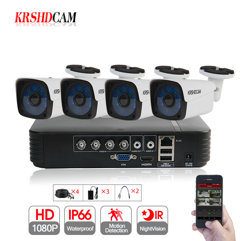 KRSHDCAM 4CH AHD DVR Security CCTV System 30M IR 4PCS 1080P CCTV Camera Outdoor Waterproof Camera Home Video Surveillance Kit футболка tom farr tom farr to005ewrjp92