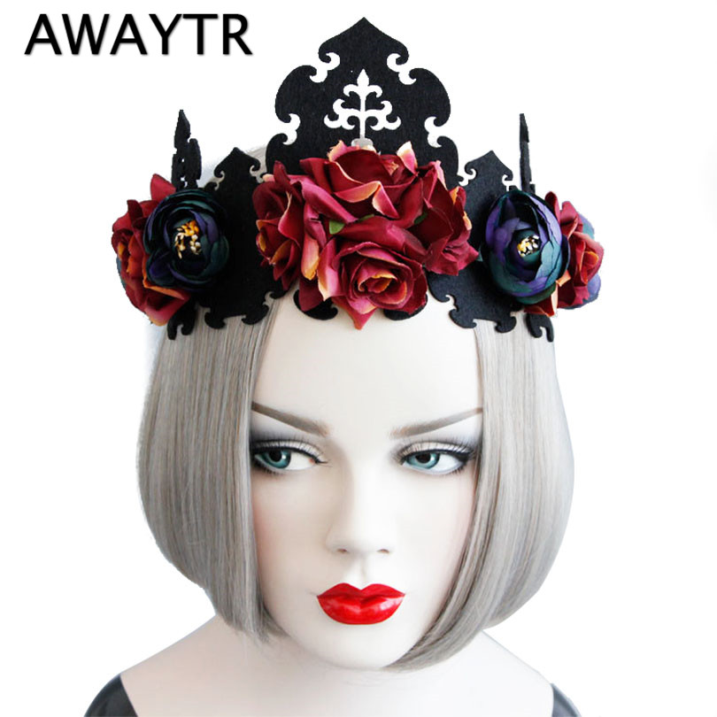 2018 Red Rose Flower Hairbands Queen Crown Headwreath Gothic Headbands Woman Party Hair  ...