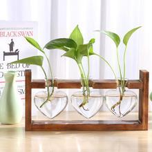 Marco de madera florero de vidrio en forma de corazón planta hidropónica florero Vintage flor olla de bonsái de escritorio flor florero decoración del hogar