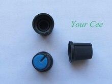 50 ШТ. Синий Лицо Высококачественного Пластика для Ротари Конический Потенциометра Hole 6 мм Черный Ручка Для Потенциометра