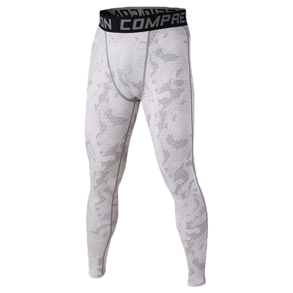 Men Compression Long Pants Running Base Layers Skins Tights Army Camouflage Soccer Joggers Trousers(White L)