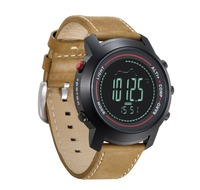 SPOVAN Men Climb Mountain Mulitifunctions Sport Wrist Watch with Genuine Leather Band Compass/Pacer/Waterproof/LED Backlight