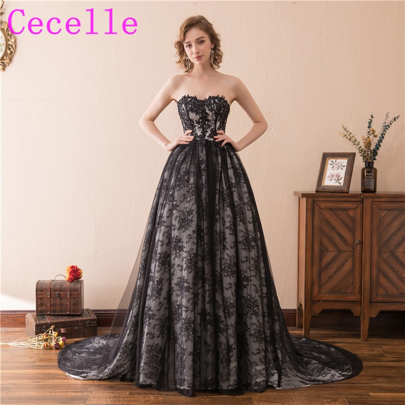 Black Gothic Ball Gown Wedding Dresses With Color Lace Colorful Non ...