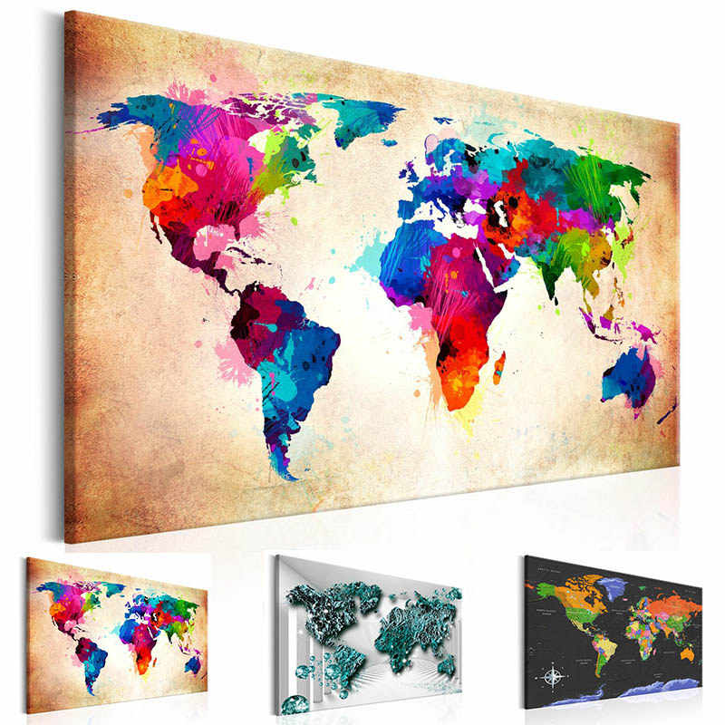 Colorful World Map Art.Detail Feedback Questions About Modern Wall Art Single Pieces