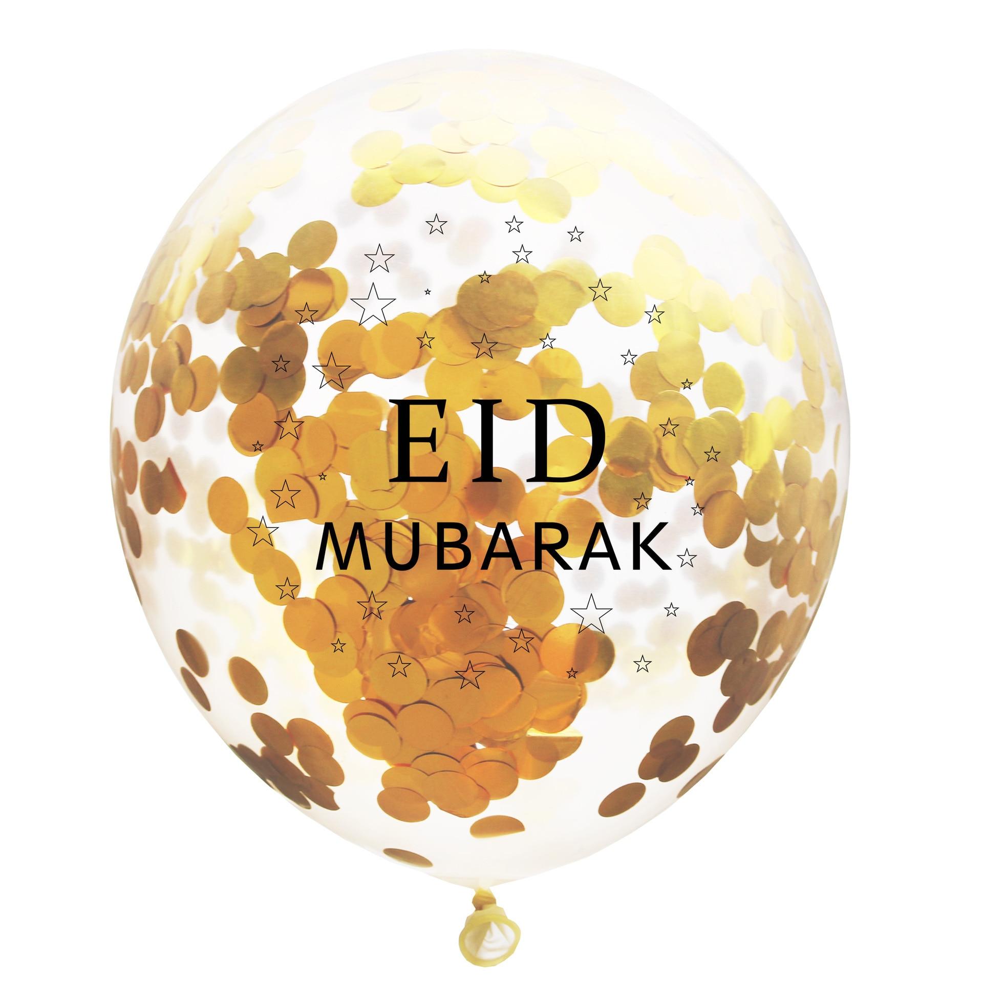 6pcs 12inch Eid Mubarak Decor Confetti Balloon Ramadan Eid wedding Decoration For Home Muslim Ramadan Mubarak Party Supplies