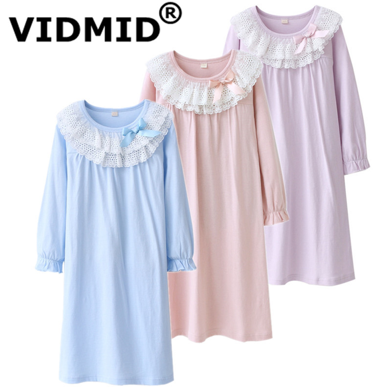 VIDMID Kids Winter Warm Dress Fashion Girl A-line Dresses Knitted Long sleeve lace Children Clothing Party Wear dresses 7010 36 lace panel long sleeve a line dress